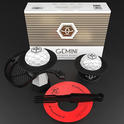 Gemini Hookah White Bowl Extended Package